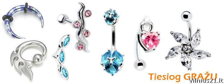 internetinė parduotuvė auskarai kūnui titaniniai ir pirsingas